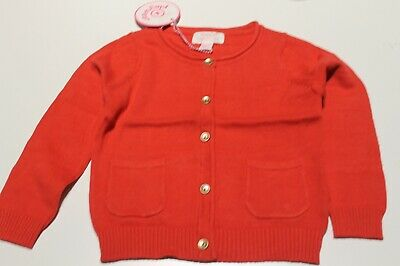 New Pumpkin Patch Red Girls Cotton Cardigan Size 1,2 Rrp $29.99