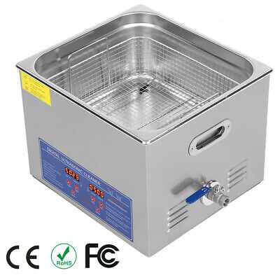 Stainless Steel 15L Liter Ultrasonic Cleaner Heater Industry Heated W/ Timer New
