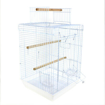 Playtop Roof Open Parakeet Cage Cockatiels Finches Bird Cage W Tray Perch White