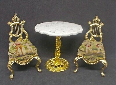 Dollhouse Miniature PAIR BESPAQ LYRE BACK CHAIRS Figural Antique Petit Point