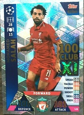 Match Attax Uefa Champions League 2018/19  Salah  100 Club Mint
