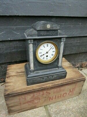 Antique French Black Slate Mantel Clock For Spares Or Repair