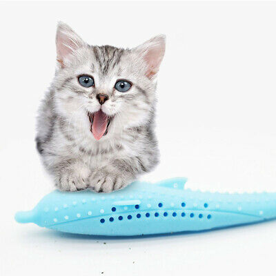 Pets Cat Fish Shape Toothbrush Silicone Molar Stick Teeth Cleaning Toy Cats US-