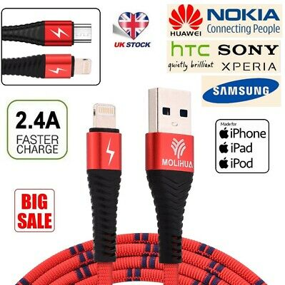 Braided Long Micro USB Charger Data Cable / iOS Cable Lead for iPhone Samsung UK