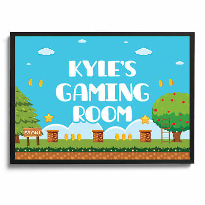 Gaming Poster Personalised Wall Print Retro Arcade Boys Bedroom Video Games Gift