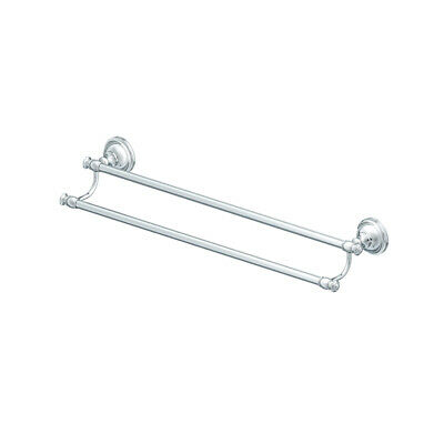 """Allen + Roth Raleigh Polished Chrome 24"""" Double Towel Bar"""