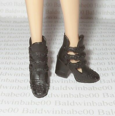 Hb ~ Shoes Mattel Barbie Doll Fashionista Black Strappy Faux Buckle Ankle Boots