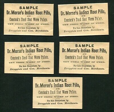 5 Antique c1875 Quack Medicine Sample Envelopes Dr Morse's Indian Root Pills