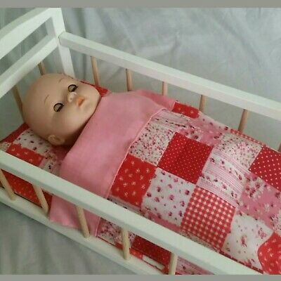 Dolls Pram Blanket & Pillow Cot Bedding Pink Floral Patchwork Baby Annabell.
