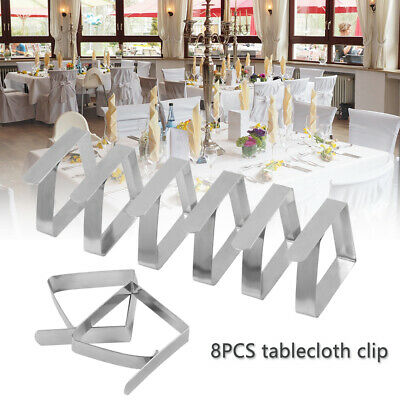 10 Adjustable Stainless Table Cloth Clips For Jumbo Table Cover /& Skirt Holders
