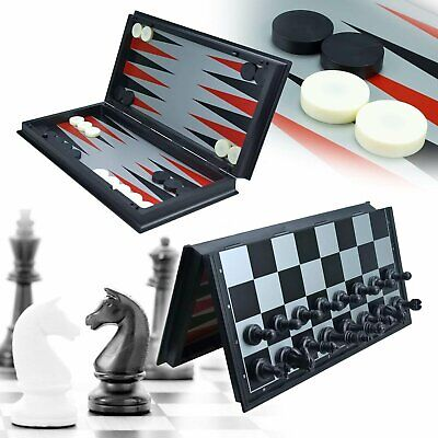JIMIYOKI 3 in 1 Game Set -Chess Checkers Backgammon Pieces Travel Chess Set Magn