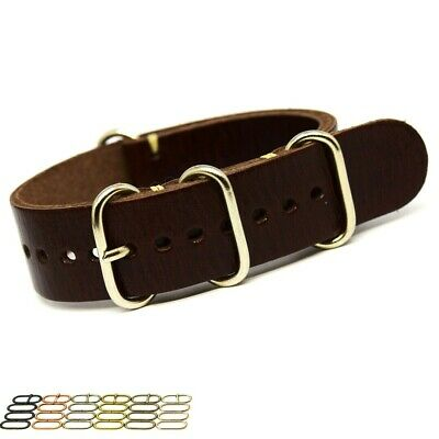 Genuine Leather Military Watch Strap Band AMMO ZULU NATO style Handmade 18-24mm