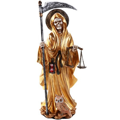 Santa Muerte Saint of Holy Death Standing Religious Statue 10 Inch Seven Gold
