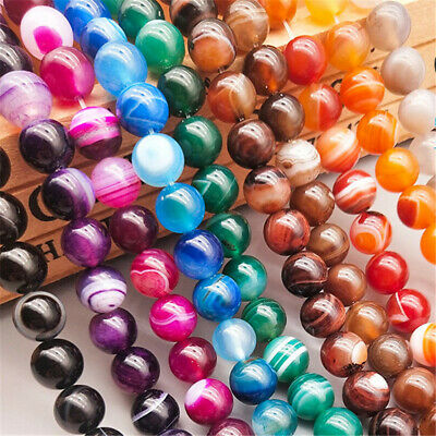 4-8mm Natural Color Veins Agate Loose Beads Diy Accessories Opaque Stone Charm