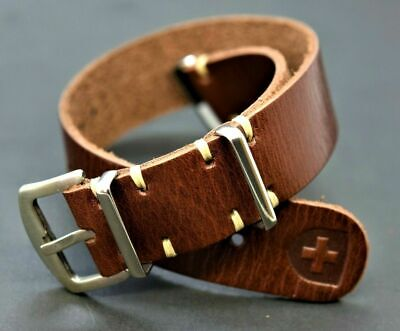 Genuine Leather Military Watch Strap Band NATO ZULU style Army Handmade 18--24mm