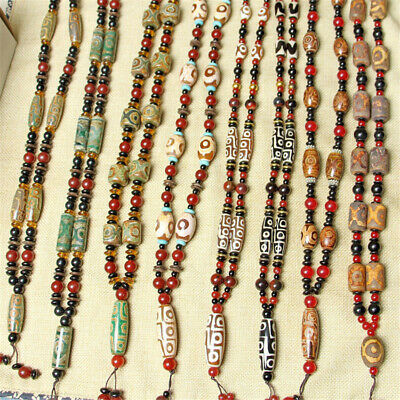Antique Ethnic Agate Dzi Bead Necklace Handmade Chain Jewelry Wedding Party