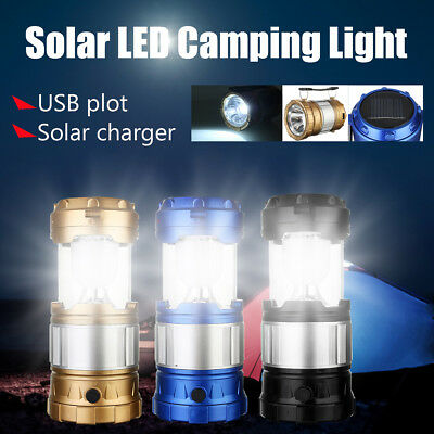 Solar Rechargeable LED Flashlight Camping Tent Light Torch Lantern Lamp