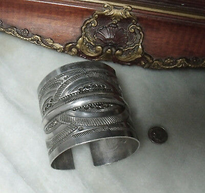 Antique Victorian Sterling Silver Super Heavy Rare Women's or Men's Bracelet