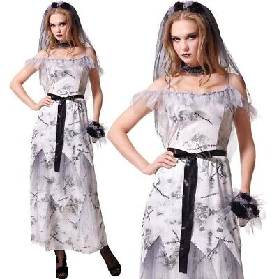 Zombie Donna Sposa Cadavere Adulti Donna Costume Halloween Bouquet