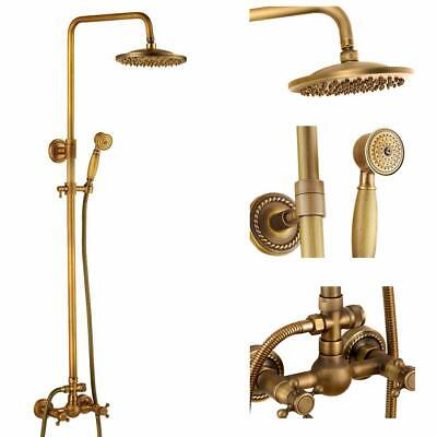 Antique Brass Bathroom Shower Faucet Set Brushed Gold Shower Fixture 8 Inch Rain