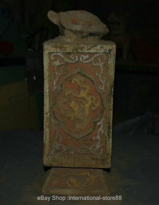 """14.8"""" Old Chinese Han Painting Pottery Dynasty Palace Tortoise Dragon Bottle"""