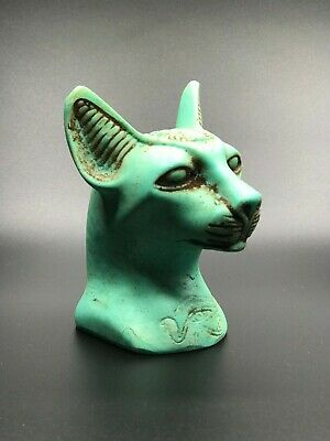 Rare EGYPT EGYPTIAN ANTIQUES Gods Bastet CAT Ubasti PHARAOH Carved Green STONE
