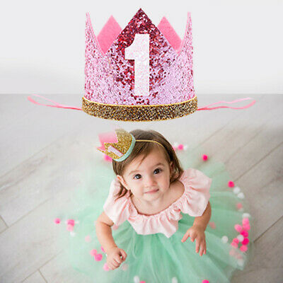 Baby Boys Girls 1st First Birthday Sparkly Party Crown Hat Headband Photo Props