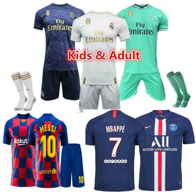UK Hot New 19/20 Kids Boys Football Full Kit Youth Strips Soccer Sports Outfit