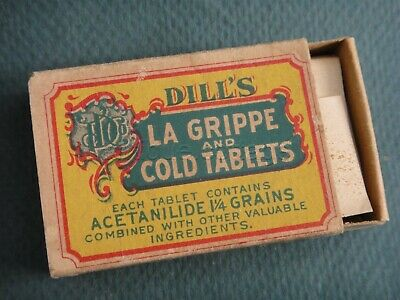 c1920 antique DILLS LaGRIPPE COLD TABLETS w CONTENT quack medicine NORRISTOWN PA