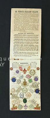 1899 antique LADIES NOTE BOOK CALENDAR SCRAP BOOK w MONOGRAM STICKERS dr pierce