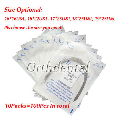 100Pcs Dental Orthodontic Arch  Super Elastic NITI Wire Ovoid Form Rectangular