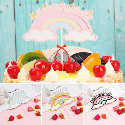Rainbow Cloud Cake Topper Dessert Decoration Baby Birthday Cake Top Flags UK