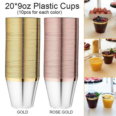 20pcs 9oz Disposable Hard Plastic Dessert Cups Tumblers Cocktail Wine Champagne