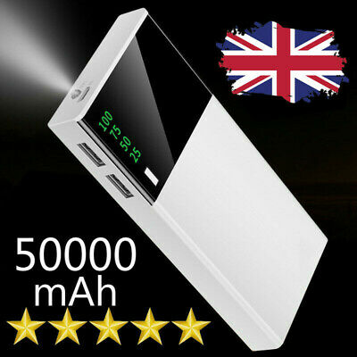 Dual-USB Phone Charger LED Portable Power Bank 50000mAh External Battery Pack UK