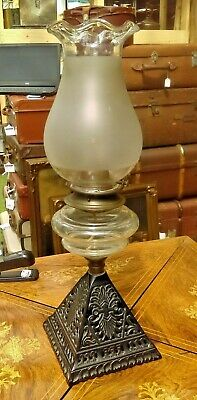 Victorian Oil Lamp with Cast Base and Clear Glass Font Dated 1892