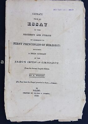 1818 antique PRINCIPLES RELIGION truths christianity WRIGHT salem ma SERMON BIBL