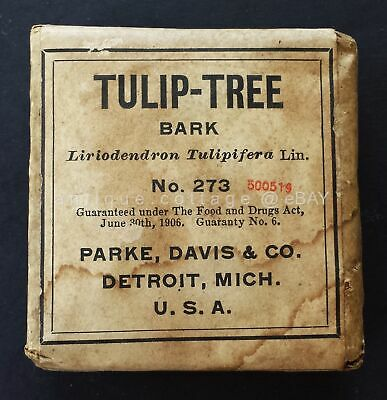 c1910 antique UNUSED quack medicine TULIP-TREE BARK parke davis RHEUMATISM FEVER