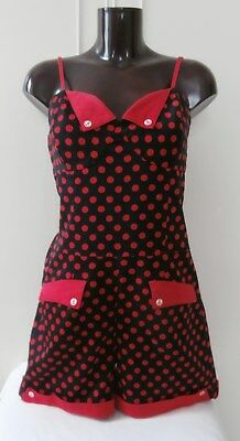 Retro 1950s Red & Black Polka Dot Playsuit, Demi-Hat & Sunglasses Glasses Sz 12