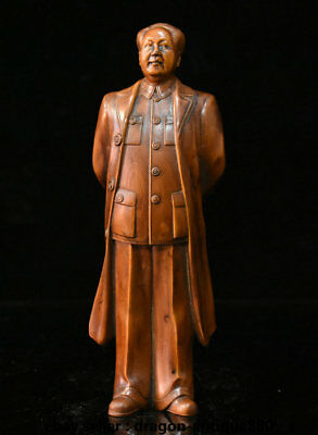 "8"" Old Chinese Boxwood Wood Hand-Carved Chairman leader Mao Zedong Sculpture"