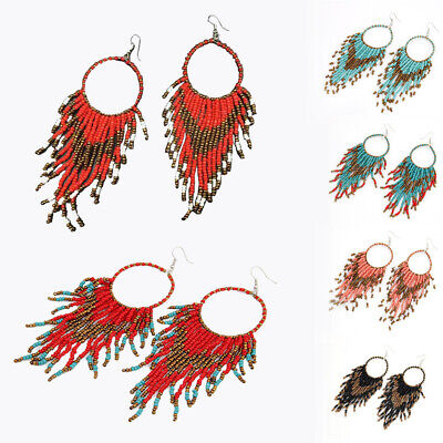 Women Bohemian Long Earrings Resin Seed Beads Drop Earring Boho Jewelry Ethnic