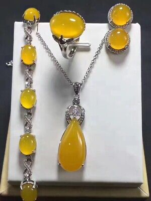 Beautiful Natural Yellow Four-piece Agate Hand-carved Lucky Chalcedony Pendant