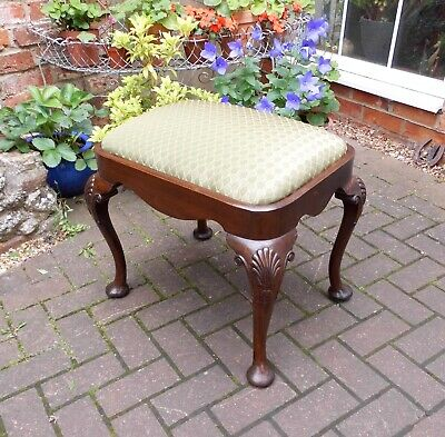 Solid Mahogany Antique Style Stool~Cabriole Legs~New Seat~Piano Stool Height