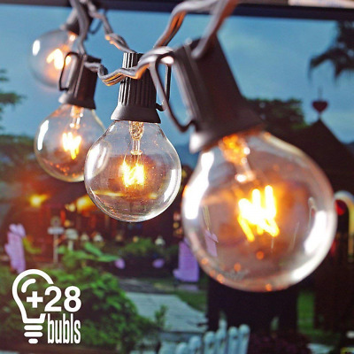 Heofean Outdoor String Lights G40 25+3 Bulbs Listed Waterproof for Indoor and