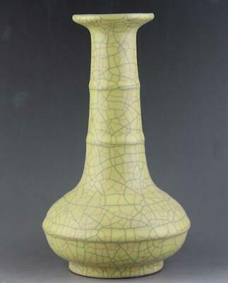 chinese old handmade ge kiln Yellow glaze porcelain vase 04226
