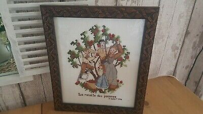 Lovely French framed completed Crossstitch  embroided picture harvesting apples