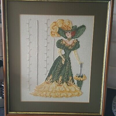 Lovely framed completed Crossstitch  embroided picture Edwardian Lady