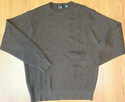 JOS. A. BANK Mens 100% MERINO WOOL CABLE KNIT SWEATER DARK BROWN Sz LARGE, L