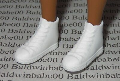 Shoes ~ Curvy Fashionista Barbie Doll White Hi-Top Flat Foot Tennis Sneakers