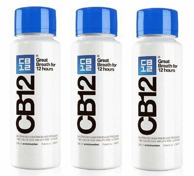 CB12 250ML 3 Pack Mint / Menthol Mouthwash FREE DELIVERY
