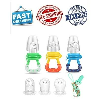 Baby Fruit Feeder Pacifier 3Pack Fresh Food Feeder-Silicone, Choose the color.